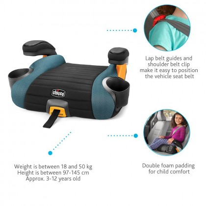 Chicco GoFit Plus Backless Booster Iron 18 to 49kg   4 years old+
