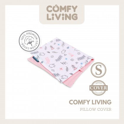 Comfy Living Baby Pillow Cover (S) 25x40cm Pink Bird