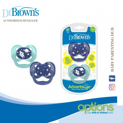 Dr Brown's Advantage Pacifier 2packs Stage 2 - Blue