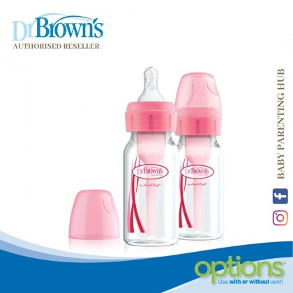 Dr Brown's Options+ Narrow Bottle 4oz/120ml 2Pack - Pink