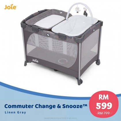 Joie Commuter Change & Snooze Linen Grey Birth to 15kg