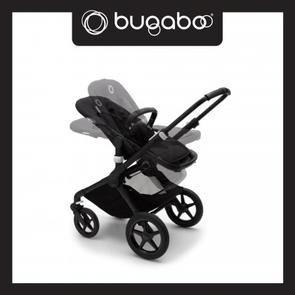 Bugaboo Fox2 Complete Stroller - Chassis Black + Style Set Grey Melange + Sun Canopy Pink