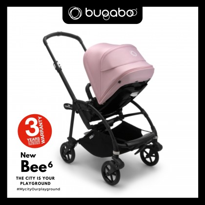 Bugaboo Bee6 Complete Stroller - Chassis Black + Style Set Black + Sun Canopy Soft Pink