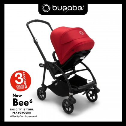 Bugaboo Bee6 Complete Stroller - Chassis Black + Style Set Black + Sun Canopy Red