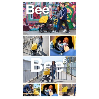 Bugaboo Bee6 Complete Stroller - Chassis Black + Style Set Black + Sun Canopy White