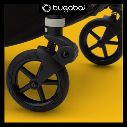 Bugaboo Bee6 Complete Stroller - Chassis ALU + Style Set Black + Sun Canopy Yellow