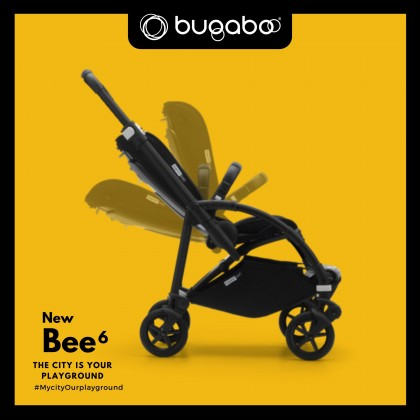 Bugaboo Bee6 Complete Stroller - Chassis ALU + Style Set Black + Sun Canopy Soft Pink
