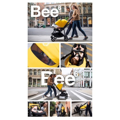 Bugaboo Bee6 Complete Stroller - Chassis ALU + Style Set Black + Sun Canopy White
