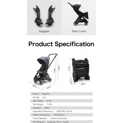 Bugaboo Ant Complete Stroller - Chassis BLK + Style Set - Grey Melange