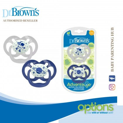 Dr Brown's Advantage Pacifier - Stage 1 - Glow in the Dark - Blue