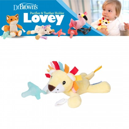 Dr Brown's Lonny The Lion Lovey With Aqua Pacifier 1pc