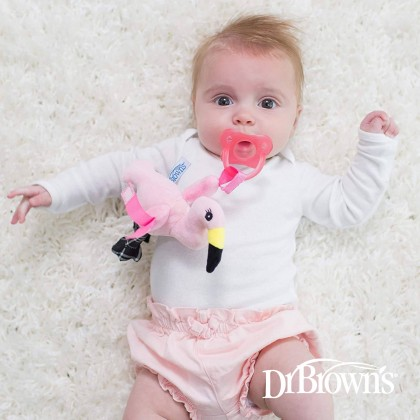 Dr Brown's Fancy The Flamingo Lovey With Aqua Pacifier 1pc