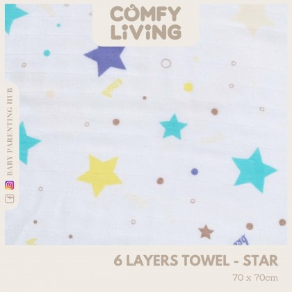 Comfy Living 6 Layer Baby Towels Star