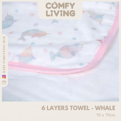 Comfy Living 6 Layer Baby Towels Whale