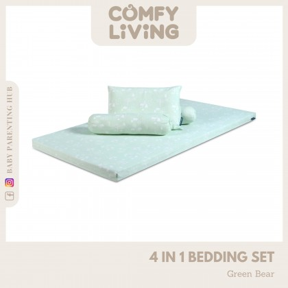 Comfy Living 4in1 Baby Bedding Set Green Bear