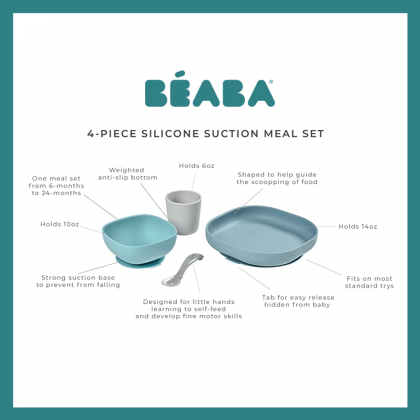 Beaba Silicone Suction Meal Set 4 Pieces Blue