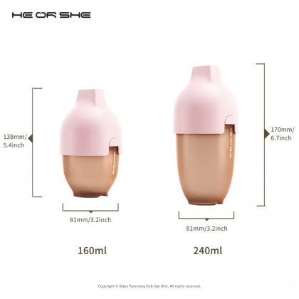 He Or She Ultra Wide Neck Baby Bottle 5oz 160ml Pink